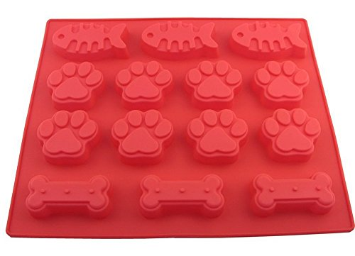 Silikon-Backform als Katzen- und Hundepfote, Knochen und Fisch, zum Backen, zum Selbermachen von Leckereien