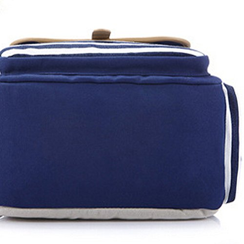 MingTai Schulrucksack Vintage Canvas Rucksack Schultasche Damen Kinderrucksack Schultaschen Daypacks Coole Rucksäcke Gestreift Schulranzen Mädchen Dunkel Blau