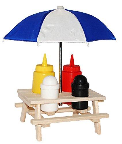 alles-meine.de GmbH 6 tlg. Set:  Picknick - Tisch Incl. Schirm  - Ketchup, Senf + Salz & Pfeffer..