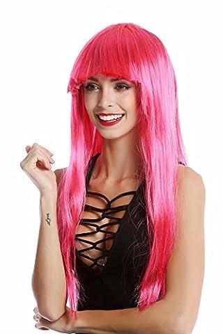 WIG ME UP - 1373-PC41 Longue perruque rose cheveux lisses avec frange Disco Glam pour femme carnaval halloween