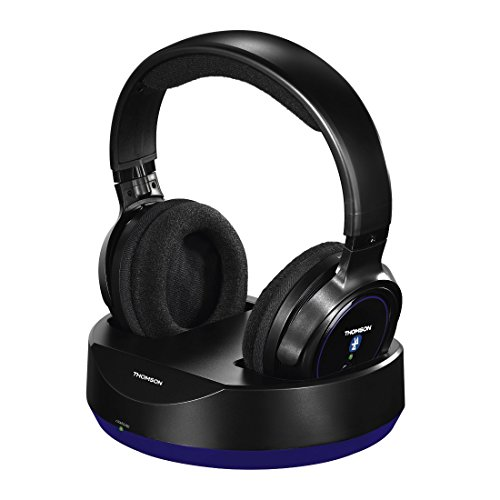 Thomson Kabelloser Over-Ear Bluetooth Kopfhörer mit Ladestation (für HiFi/Smartphone/Tablet/PC, Telefonie- und Remotefunktionen, VOIP, 12h Betriebszeit) Wireless Headphones Schwarz