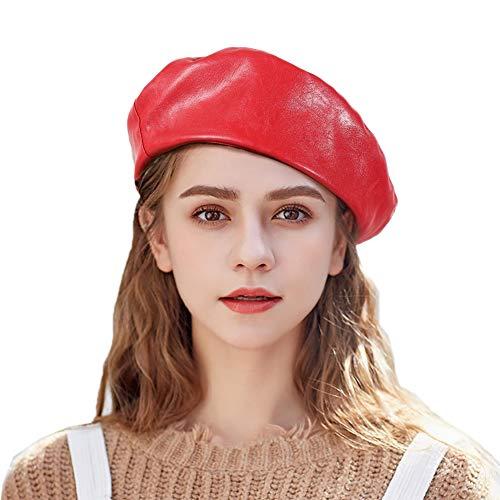 Tacobear Boina Mujer PU Cuero Retro Boina Sombrero