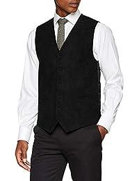 LA Smith Mens Black Glitter Waistcoat Slim Fit