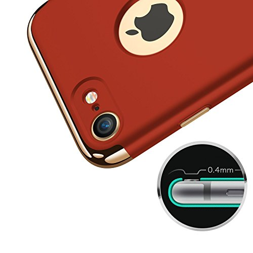 vanki® iPhone 7 hülle Tasten 3 in 1 Hart PC Schutzhülle Case Cover Bumper Anti-Scratch Handyhülle für iPhone 7 (4,7 Zoll) (Black) Red