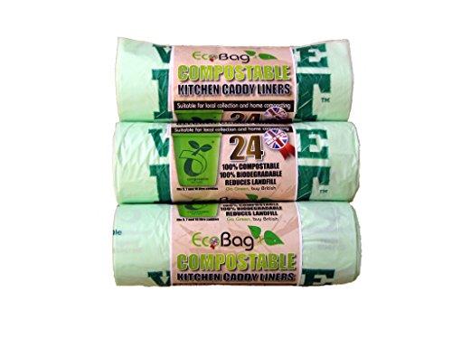 Öko-Tasche 24 Kompostierbare Caddy Liners 10L