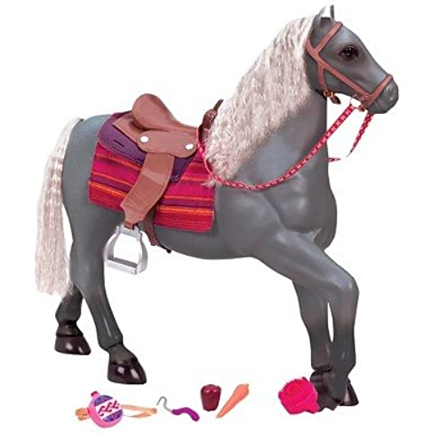 Our Generation Grey Lusitano Horse with Grooming Supplies and Accessories for 18-Inch Dolls by Our Generation
