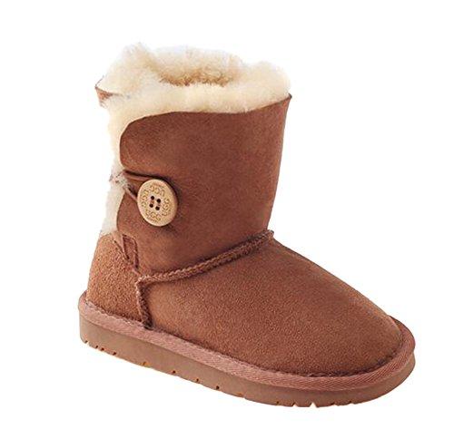 OZwear UGG Holzschnalle Mid-Rohr Kinder Schneeschuhe Kastanie (US Little Kid 2M/3M)(UK 1/2)(AU 2/3)(EU 32/33) - Kleinkinder Für Uggs Stiefel