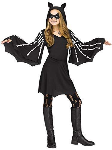 Fledermaus Kostüm Unheimlich - Fancy Me Mädchen Kapuzen Skelett Vampir Fledermaus Knochen Halloween Horror Unheimlich Kostüm Kleid Outfit 4-12 Jahre - Schwarz, 7-9 Years