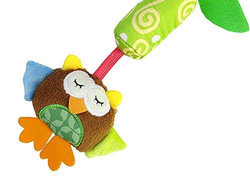 Luxury-uk Soft Book für Kleinkinder Kinderbett Krippe Anhänge, Cartoon Tier Hänge Rassel Kleinkind Spielzeug, mit Klingel Bell Build-in BB-Gerät