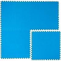 Eyepower Alfombra Puzle de Goma EVA para Cubrir Proteger Fondo Borde Piscina Ducha | 1cm de Espesor Suave Antideslizante Set 4pcs 2,6qm Extensible | Azul