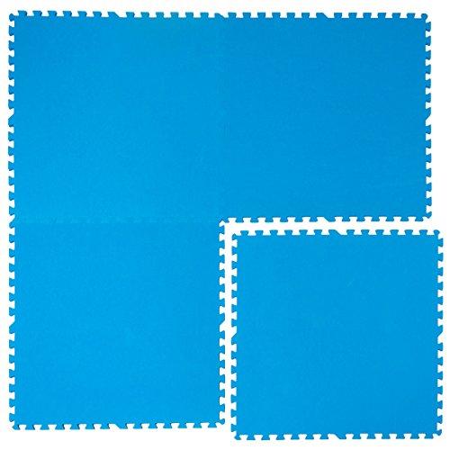 eyepower Tapis Puzzle EVA pour recouvrir protéger fond bord piscine douche | 1cm d'épaisseur moelleux antidérapante imperméable 2,6qm extensible | Bleu