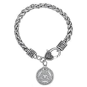 VASSAGO Rundes Medaillon Pentagramm der Sonne der Schlüssel Salomon Anhänger Talisman Weizenkette Armband