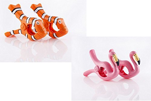 'Strandtuch Clips Boca - 2 Paar - Flamingos & Clown Fisch.