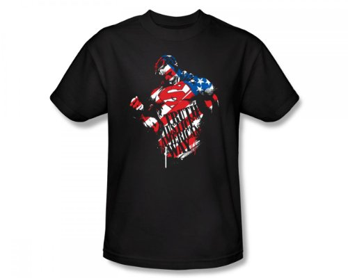 Superman - The American Way Slim Fit Adult T-Shirt in Schwarz, XX-Large, Black -