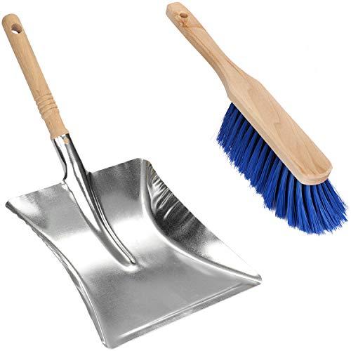 Com-four® Juego de recogedor con recogedor y Cepillo de Mano - Set de Barrido de Metal -...