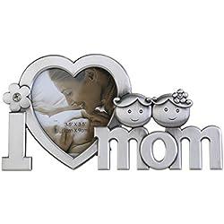 Regalo día de la madre I Love mamá marco de fotos Metal hogar y decoración
