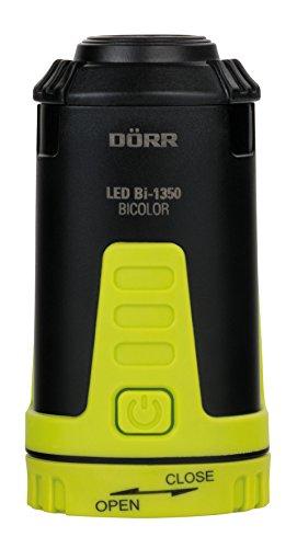 Dörr 980546 LED Outdoor Laterne Bicolor Bi-1350, Ultrahelle weiße CREE Plus 2 rote LEDs, 115 Lumen, dimmbar schwarz/Neongelb