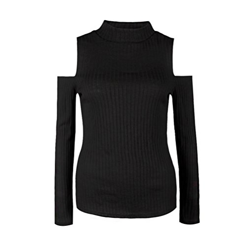 SunIfSnow Damen Sweatshirt, Einfarbig Gr. M, schwarz (Sweater Mock Ribbed Neck Knit)