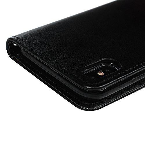 Badalink Hülle für iPhone X Rosa Ameise Baum Handyhülle Leder PU Case Magnet Flip Case Schutzhülle Kartensteckplätzen und Ständer Handytasche mit Eingabestifte und Staubschutz Stecker Schwarz
