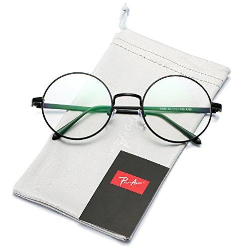Pro Acme Klassische polarisierte Wanderer-Sonnenbrille umrandeter Horn-Rahmen (Blue Mirrored Lens/Matte Black Frame, 52)