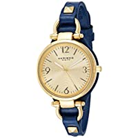 Akribos XXIV Women's Classic Swiss Quartz Blue/Gold Watch - Engraved Sunburst Concentric Circles Dial - Slim Genuine Calf Leather with Metal Accents - AK761