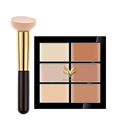 Rrimin Professional Cosmetic 6 Color Cream Contour Palette Kit Pro Concealer Face Makeup Palette Multi-Style Optional (Unique Palette+Brush 02)
