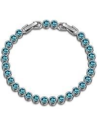 Susan Y Christmas Bracelet Gift, Ocean Dream Tennis Women Bracelet, Crystals from Swarovski, Aquamarine/Light Turquoise/Light Sapphire/Violet/Chrysolite, Patent Design, Allergy Free, Elegant Gift Box