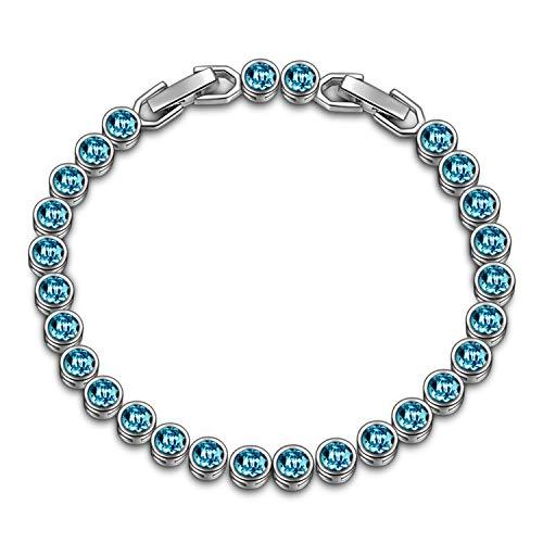 Susan y regalo di natale tennis braccialetti donna cristalli da swarovski regali natale originali idee regalo natale bracciale idee regalo donna regali natale donna idee regalo(turchese chiaro)