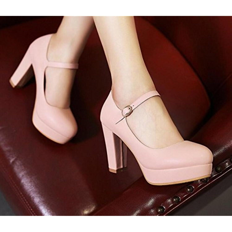 KHSKX-Le Talon Haut Talon D'Épaisses D'Épaisses D'Épaisses Imperméabilisation Chaussures Roses Un Mot Boucle Le Cuir Des Chaussures... - B0785WTLS2 - 792fc6