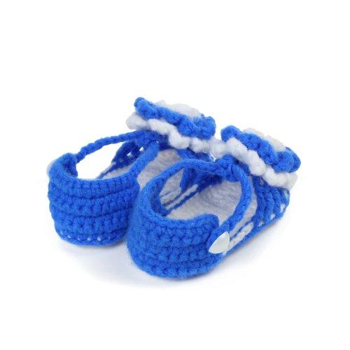 Yue Lian Baby Unisex Schuhe mit Zweifarbig Blume Handgemachte Rutschfeste Strickschuhe Lauflernschuhe Königsblau