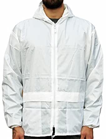 WWK Mens Ladies Cagoule Kagool New Lightweight Unisex Kagoul Rain Coat Jacket Mac (Small, White)