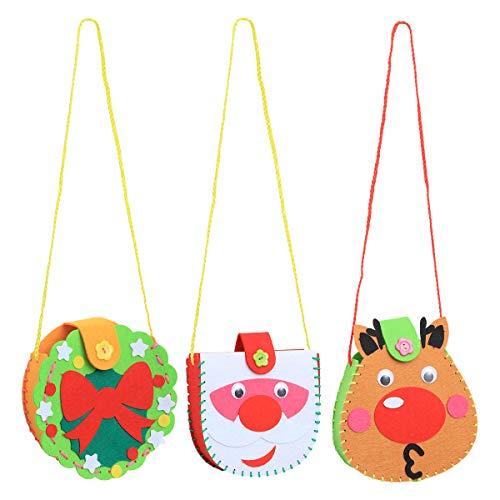 BESTOYARD 6pcs DIY Christmas Craft Handtasche Materialien für Kinder handgemachte DIY mit Schneemann-Ren-Kranz für Xmas Party Zubehör Bevorzugungen Mädchen Jungen