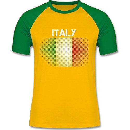 EM 2016 - Frankreich - Italy Flagge - zweifarbiges Baseballshirt für Männer Gelb/Grün