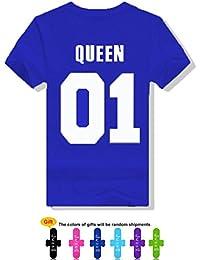 JWBBU® Couple T-shirt Eté Amants chemise imprimer Lettre de King ou Queen Casual T-Shirt Tops Col Rond