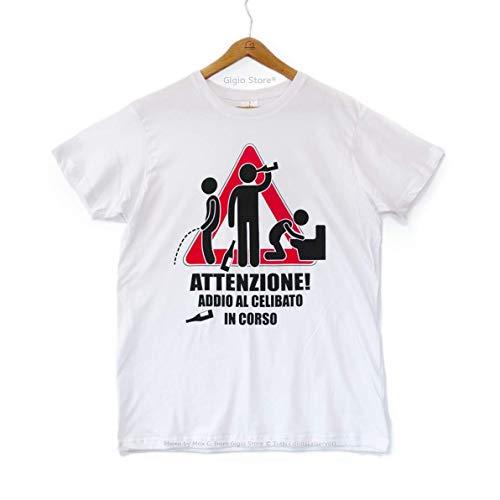 Gigio store magliette personalizzate matrimonio sposi amici dello sposo attenzione addio al celibato in corso 100% cotone morbido colore bianco girocollo maniche corte made in italy