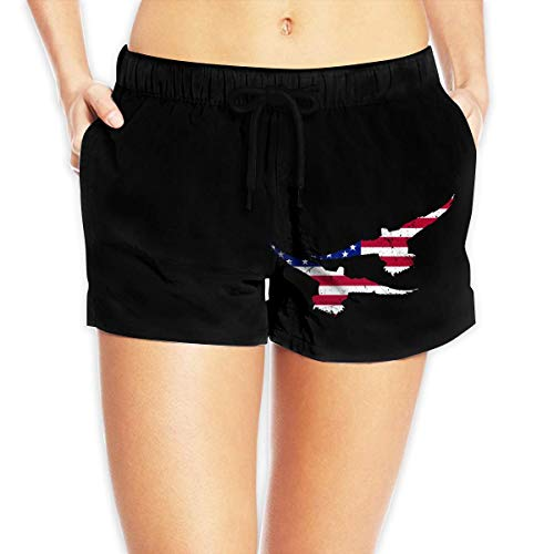 LULUZXOA American Flag Duck Drake Hunting Decoy Tea Women Summer Beach Shorts Beach Board Shorts,M -