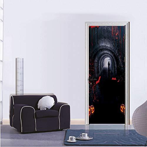 lloween 3D Tür Aufkleber DIY Wandbild Selbstklebende Tapete Abnehmbare wasserdichte Poster Aufkleber Wohnkultur Aufkleber 90X200 cm ()