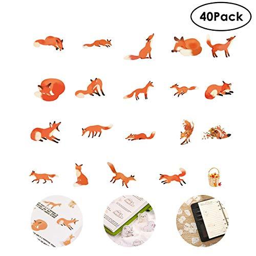 FOONEE Ephemera für Scrapbooking, 40 Stück süße Tier-Serie, Vintage-Ephemera-Pack, Selbstklebende Ephemera-Karte für Notizbuch/Tagebuch/Karten/Buchstaben/Fotorahmen/Tasse Fuchs -