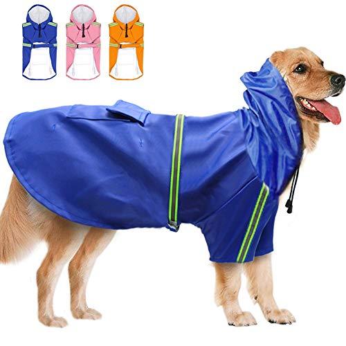 DINGG PET Large Dog Raincoat wasserdicht Big Dog Clothes Outdoor Coat Rain Jacket for Golden Retriever Labrador Husky Big Dogs 3XL-5XL,Blue,XXXXL -