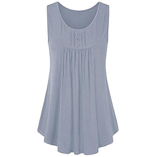 BHYDRY Oberteile Hemd Damens Sommer Ärmellose Scoop Neck Shirts Pleats Solid Flowy Tunika Tanktops(X-Large,Grau)