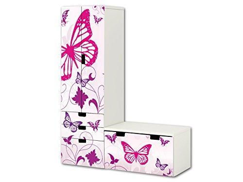 """""""Butterfly"""" Aufkleber-Set – SL04 – passend für die Kinderzimmer Aufbewahrungskombination STUVA von IKEA (L-Form) – Bestehend aus Schrank, Kommode mit 3 Fächern und Banktruhe"""