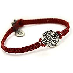 Pulsera Macramé con Sello de Salomón amuleto tejido a mano Rojo
