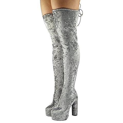 New Womens Ladies Over The Knee Thigh High Boots Velvet Platform Block Heel Size 8
