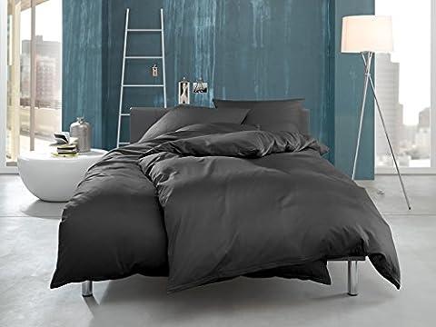 Bettwaesche-mit-Stil Mako Interlock Jersey Bettwäsche Garnitur uni/enfarbig 100% Baumwolle anthrazit weiß natur braun (155 cm x 220 cm + 80 x 80 cm,