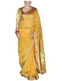 NAKSH KHADI BOUTIQUE KHADI COTTON/LINEN Saree With Blouse Piece (NKB_08_golden_Free Size)