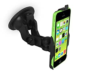 iZKA® - Apple iPhone 5C Made To Measure Dedicated Heavy Duty Windscreen In Car Suction Mount Holder with FULL 360 Degrees Rotation - (Vertical or Horizontal Position)