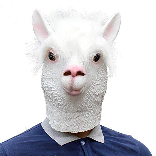 Gesicht Schaf Kostüm - YDXJJ Halloween Maske Neuheit Halloween Kostüm Alpaka Latex Tier Alpaka Maske Vollgesichts Latex Maske Schaf Kopf Cosplay