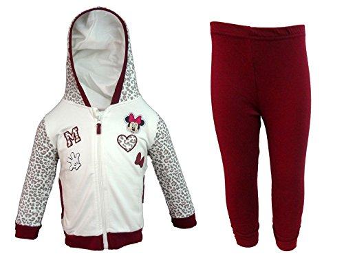 Tuta noenata in felpa full zip con cappuccio + leggings minnie topolina disney art. wd101250 (36 mesi, panna)