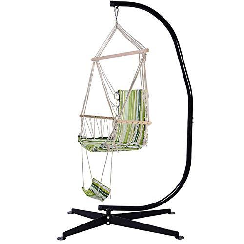 Costway sedia sospesa amaca a dondolo amaca con poggiapiedi braccioli, verde a righe