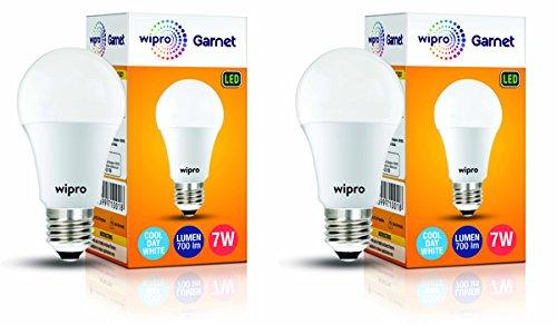 Wipro Garnet Base E27 7-Watt LED Bulb (Pack of 2, Cool Day Light)
